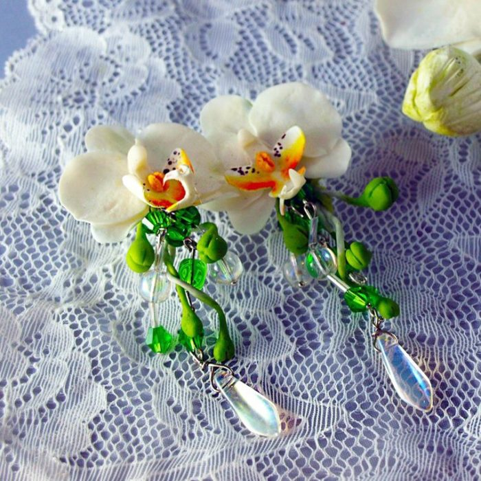 Dangle Earrings with Orchids | Oriflowers