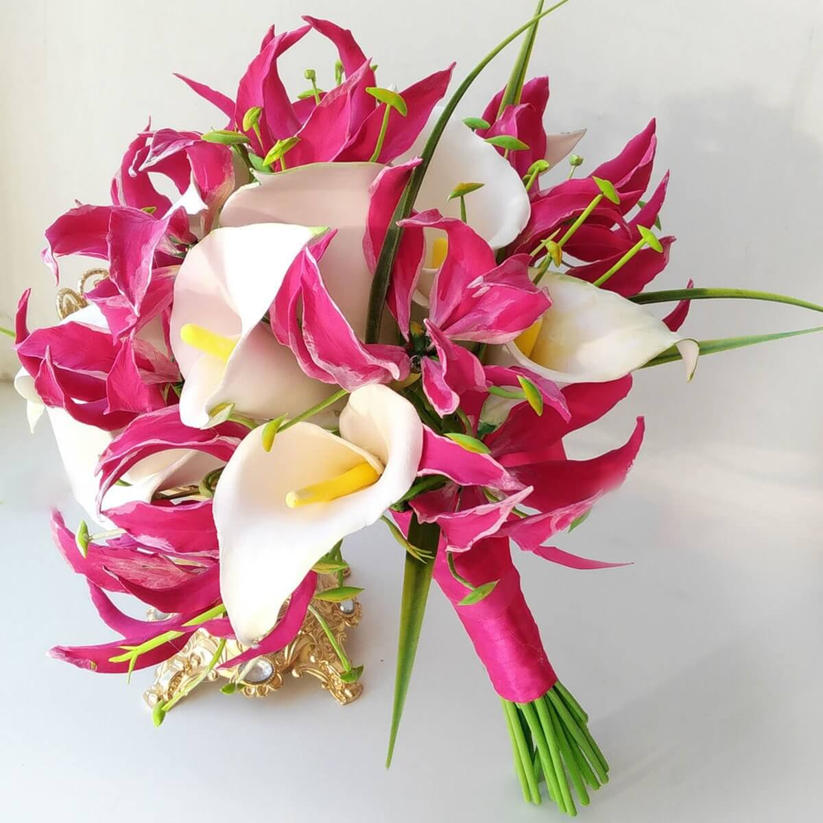 Flame And Calla Lily Bridal Bouquet - Handmade With Love   Oriflowers
