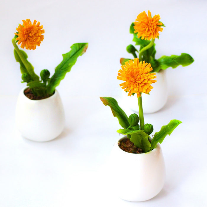 Flower Decoration Artificial Dandelions in a Milk Jug | Oriflowers