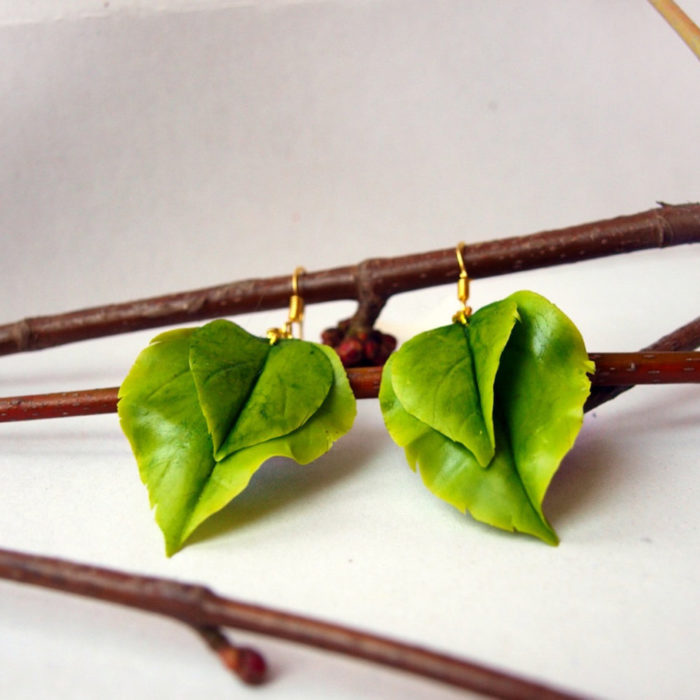 Green Leaf Earrings | Oriflowers