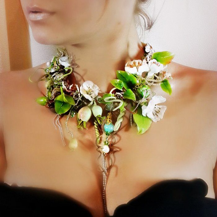 Green Statement Necklace, Fashion Spring Jewelry | Oriflowers