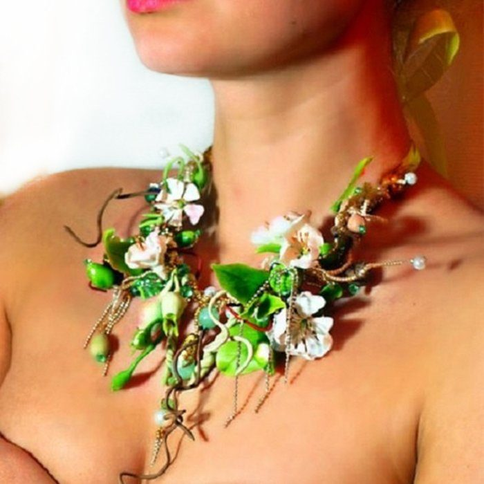 Green Statement Necklace, Spring Jewelry | Oriflowers