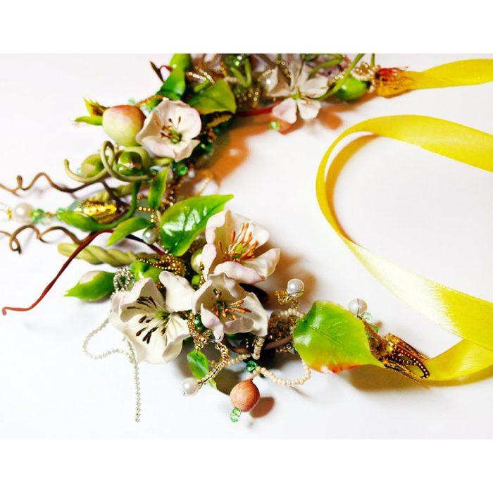 Green Statement Necklace, Fashion Spring Jewelry   Oriflowers