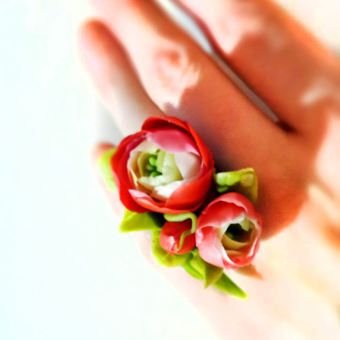 Handmade Flower Ring Red Ranunculus | Oriflowers