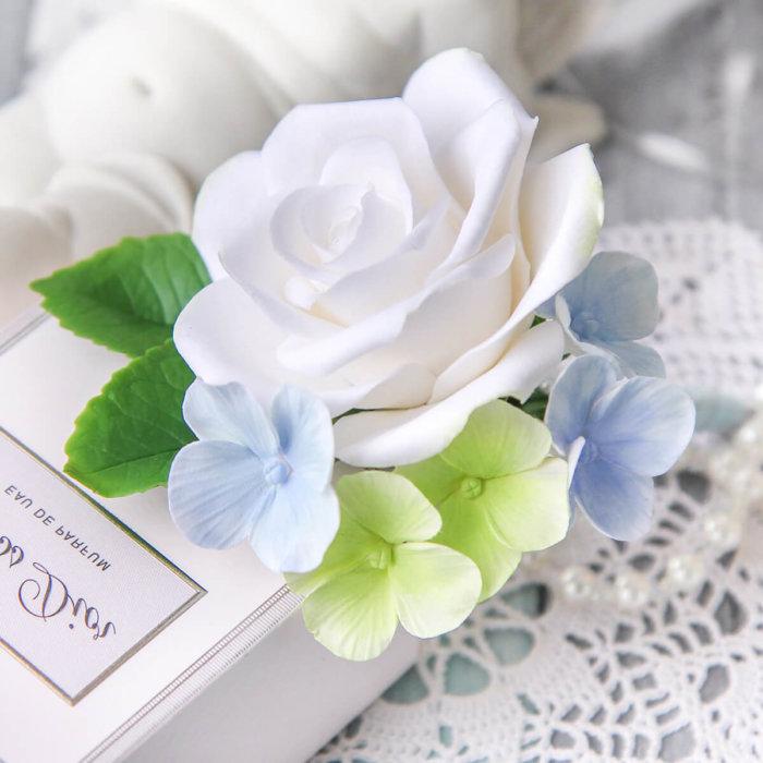 Hydrangea And Rose Boutonniere 1   Oriflowers