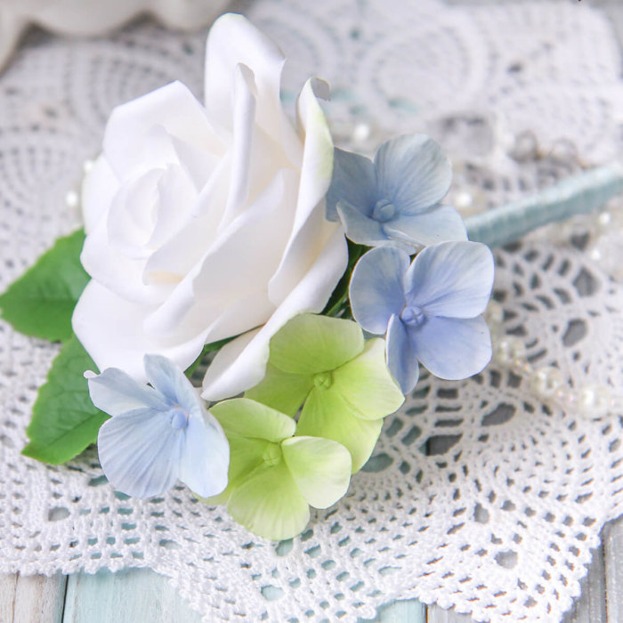 Hydrangea And Rose Boutonniere 2 | Oriflowers