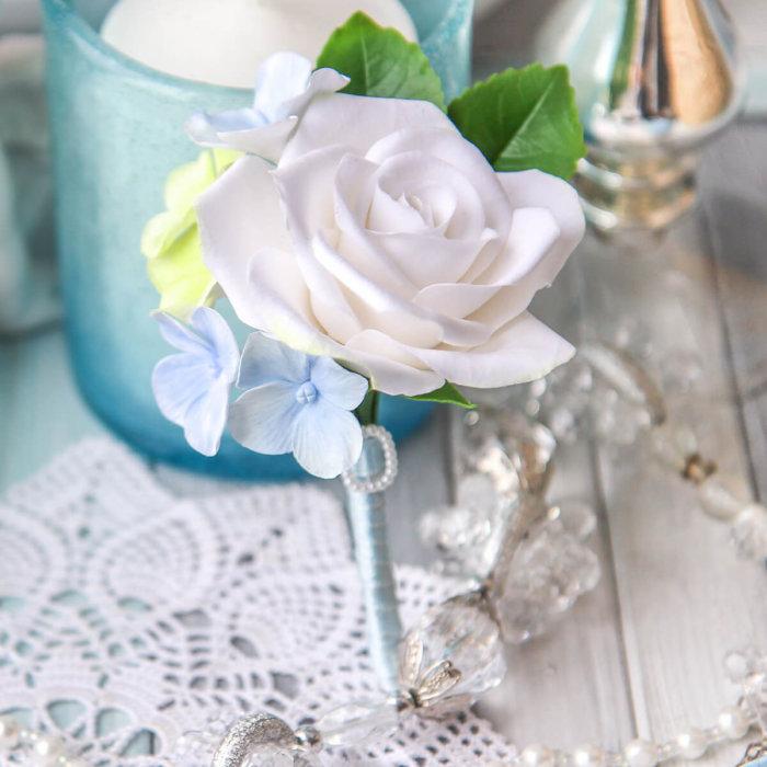Hydrangea And Rose Boutonniere   Oriflowers