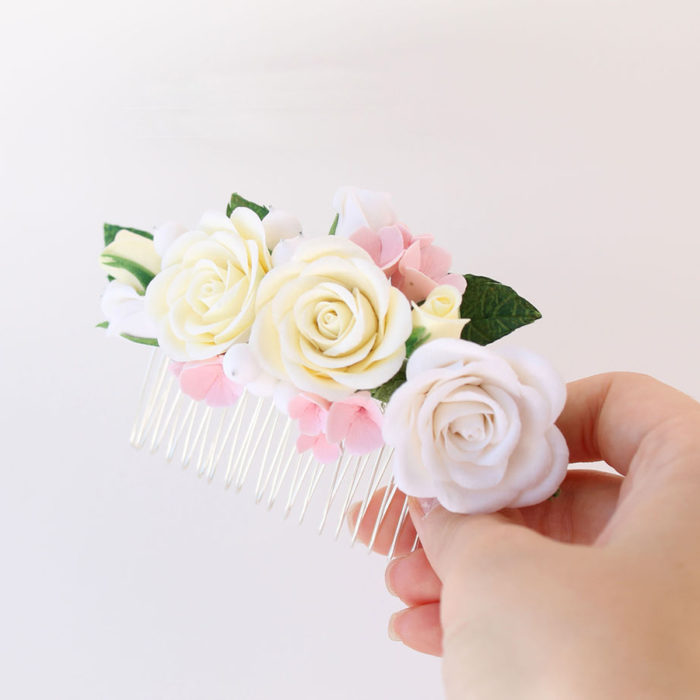 Ivory Rose Hair Comb 1 | Oriflowers