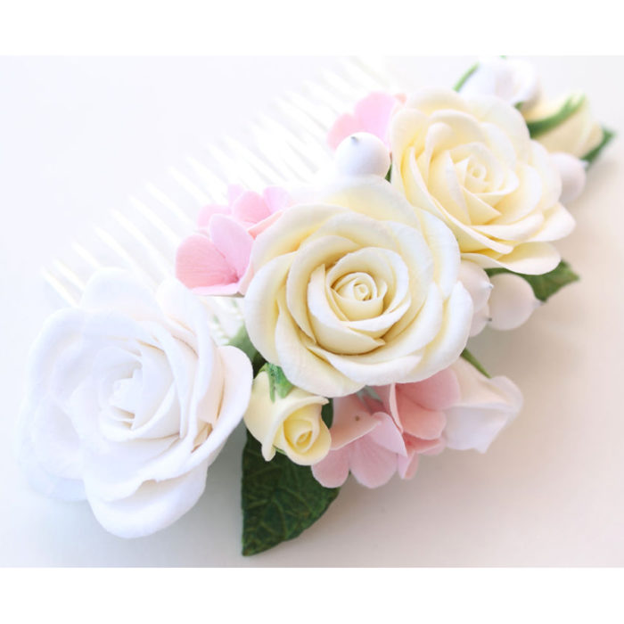 Ivory Rose Hair Comb 2 | Oriflowers