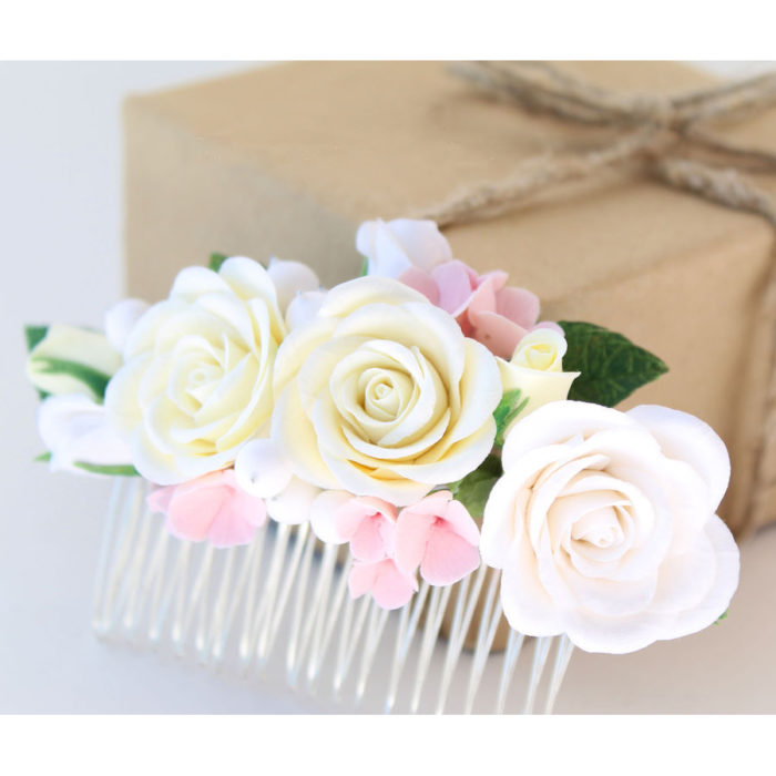 Ivory Rose Hair Comb | Oriflowers