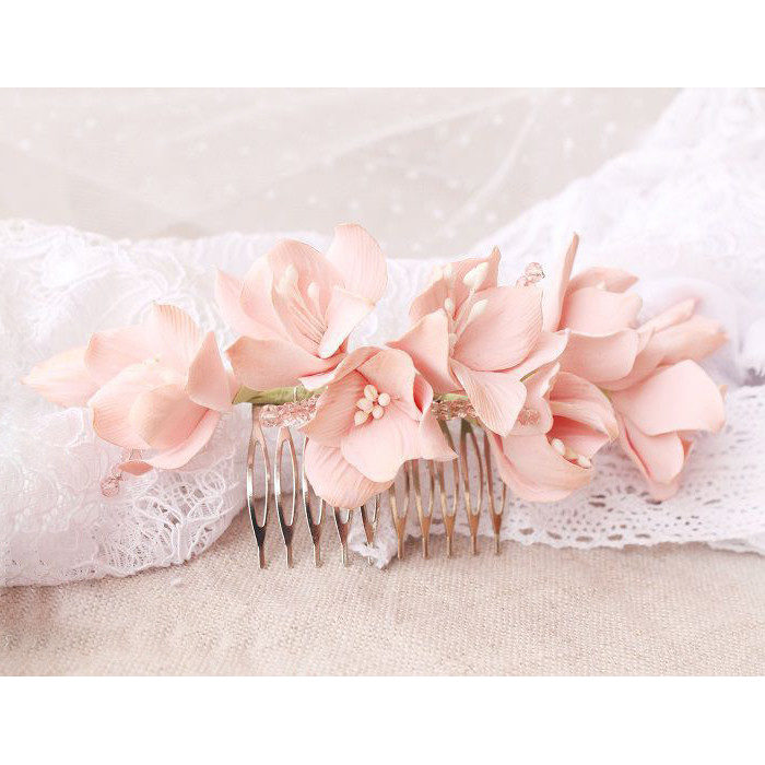 Light Pink Hydrangea Hair Comb 1 | Oriflowers