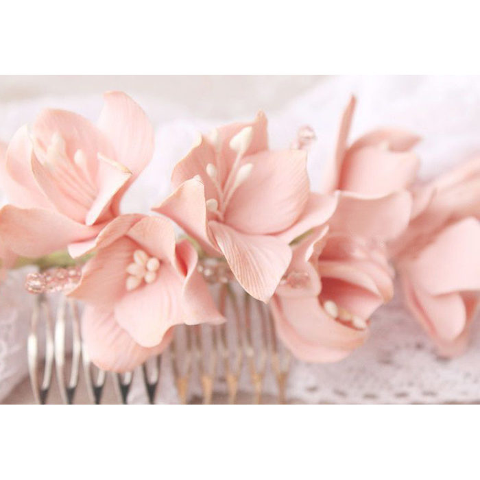 Light Pink Hydrangea Hair Comb 2 | Oriflowers
