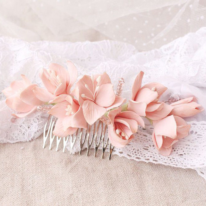 Light Pink Hydrangea Hair Comb | Oriflowers