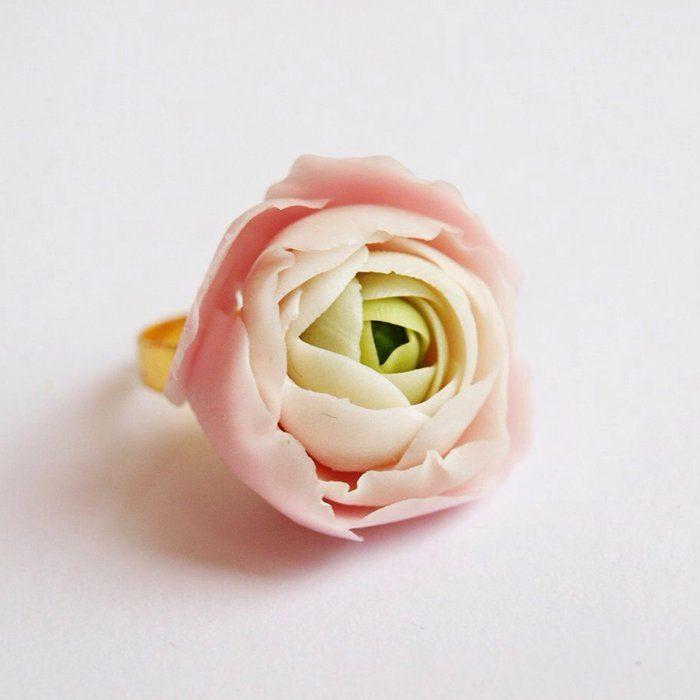 Light Pink Ring, Handmade Ranunculus | Oriflowers