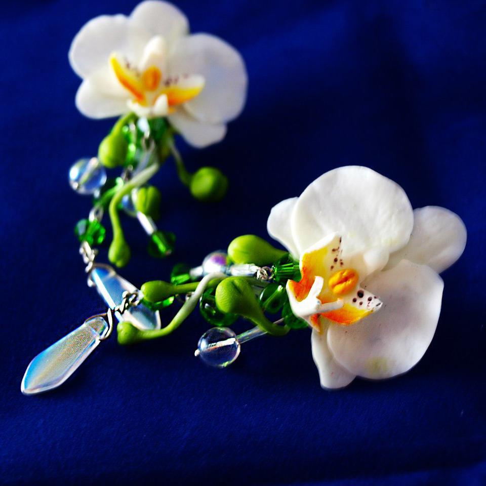 Orchid Jewelry Handmade Dangle Earrings Oriflowers