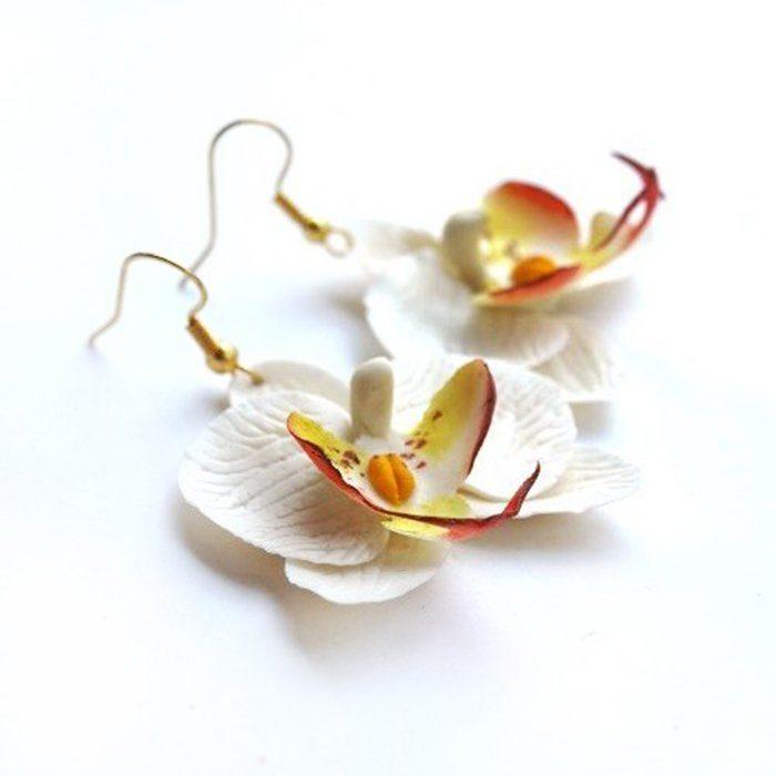 Orchid Long Earrings - Handmade Jewelry | Oriflowers