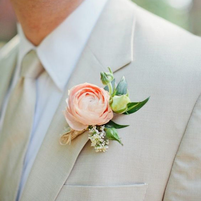 Peach Ranunculus Boutonniere, Wedding Flower Accessories | Oriflowers