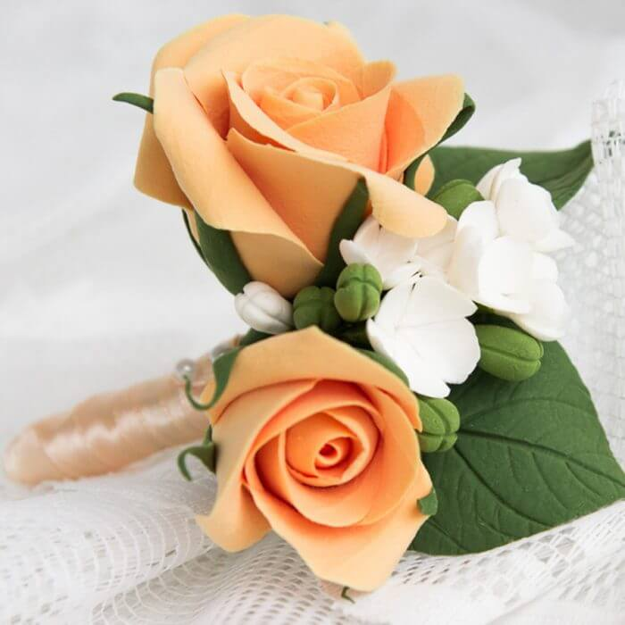 Peach Rose Boutonniere 2 | Oriflowers