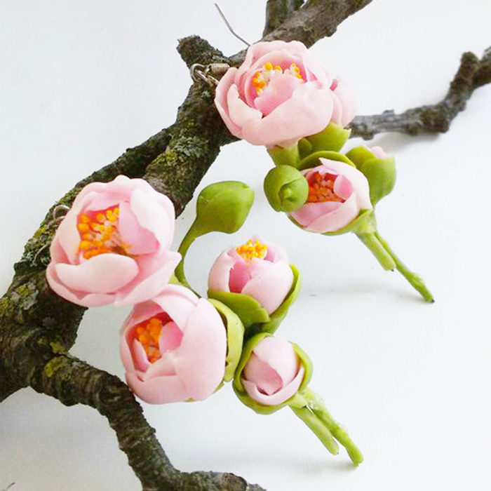 Peony Earrings - Handmade With Love | Oriflowers