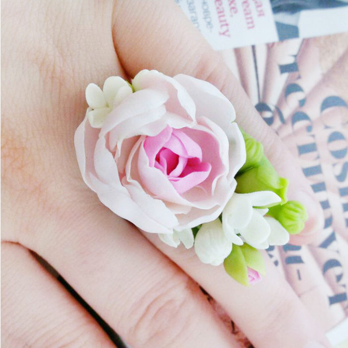 Peony Floral Ring on Hand | Oriflowers
