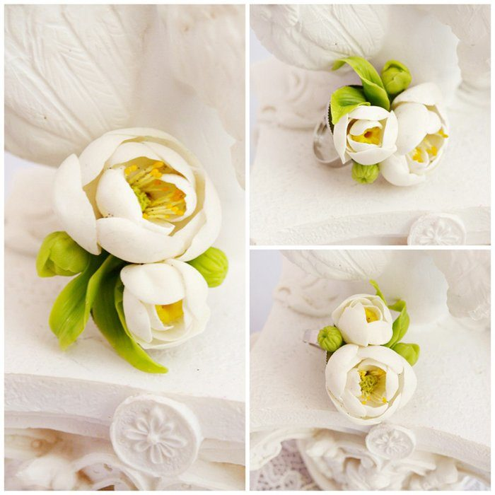 Peony Ring, Handmade White Jewelry | Oriflowers