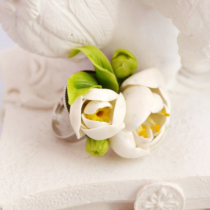 Peony Ring, White Jewelry | Oriflowers