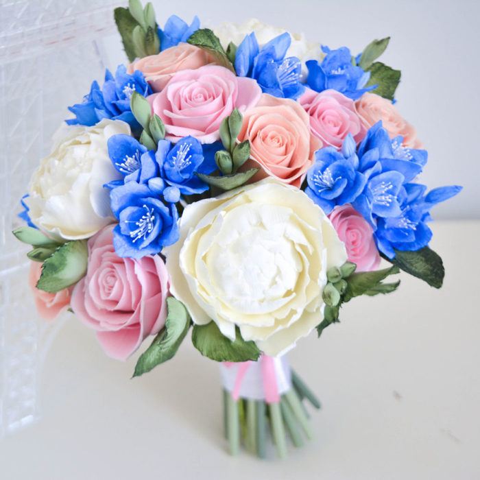 Pink And Blue Wedding Bouquet 1 | Oriflowers