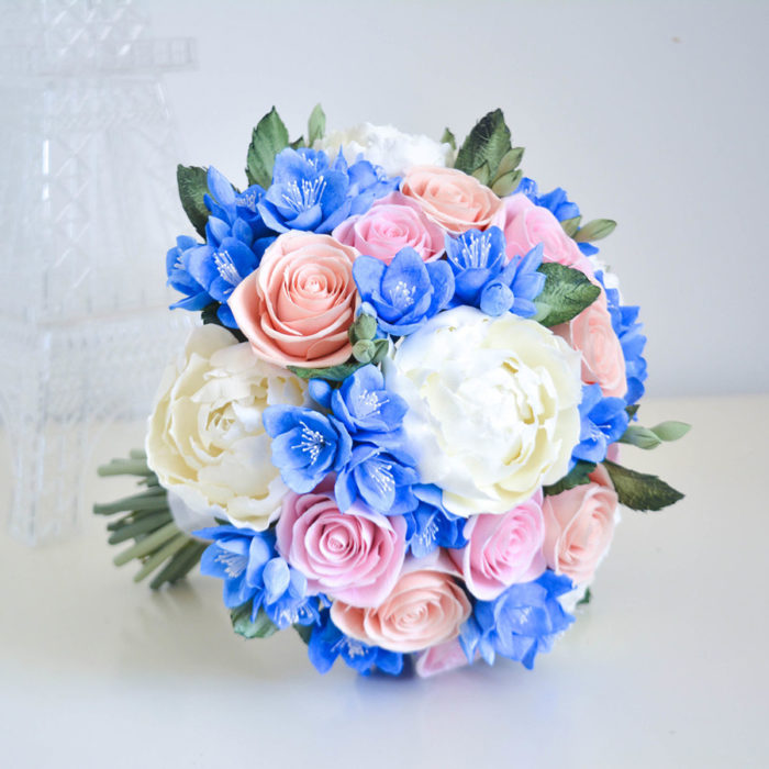 Pink And Blue Wedding Bouquet 2 | Oriflowers