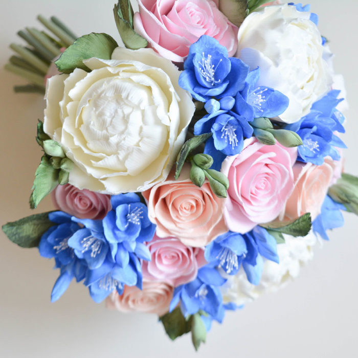Pink And Blue Wedding Bouquet 3 | Oriflowers