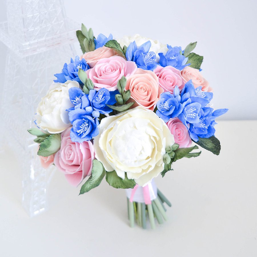 Pink And Blue Wedding Bouquet Handmade With Love Oriflowers