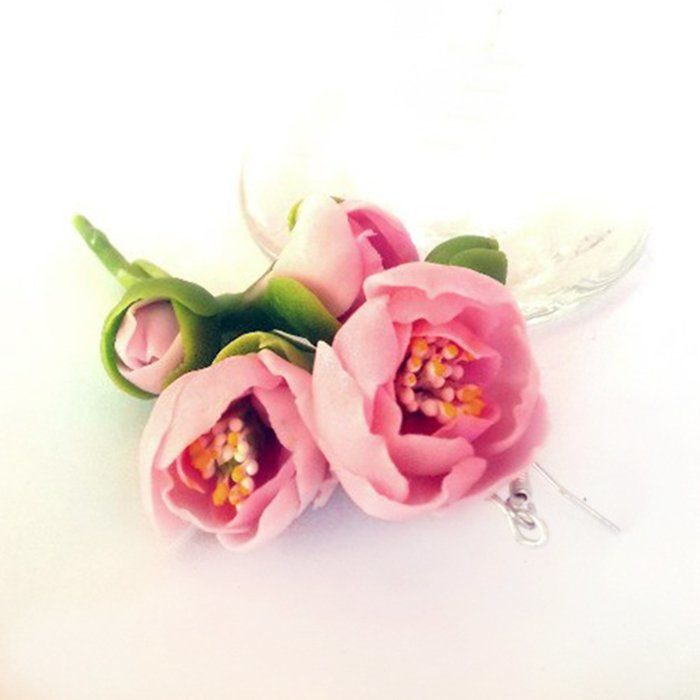 Pink Dangle Earrings | Oriflowers