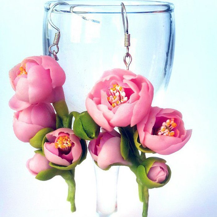 Pink Dangle Earrings, Handmade Peony Jewelry | Oriflowers