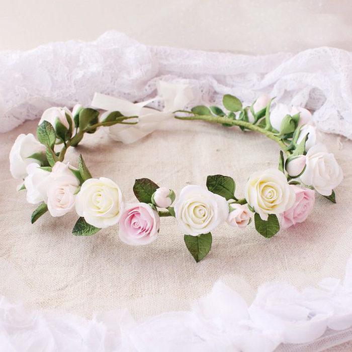 Pink Rose Flower Crown 1 | Oriflowers