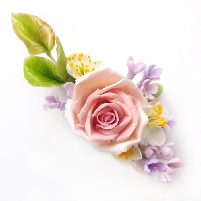 Pink Rose Hair Clip | Oriflowers