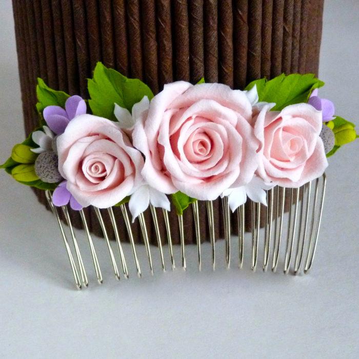 Pink Rose Hair Comb 1 | Oriflowers