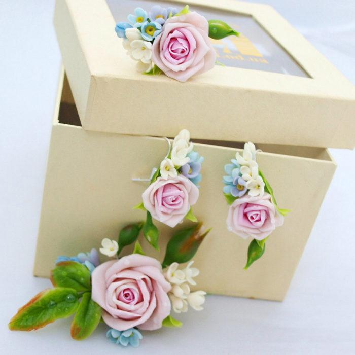 Pink Rose Jewelry Set | Oriflowers