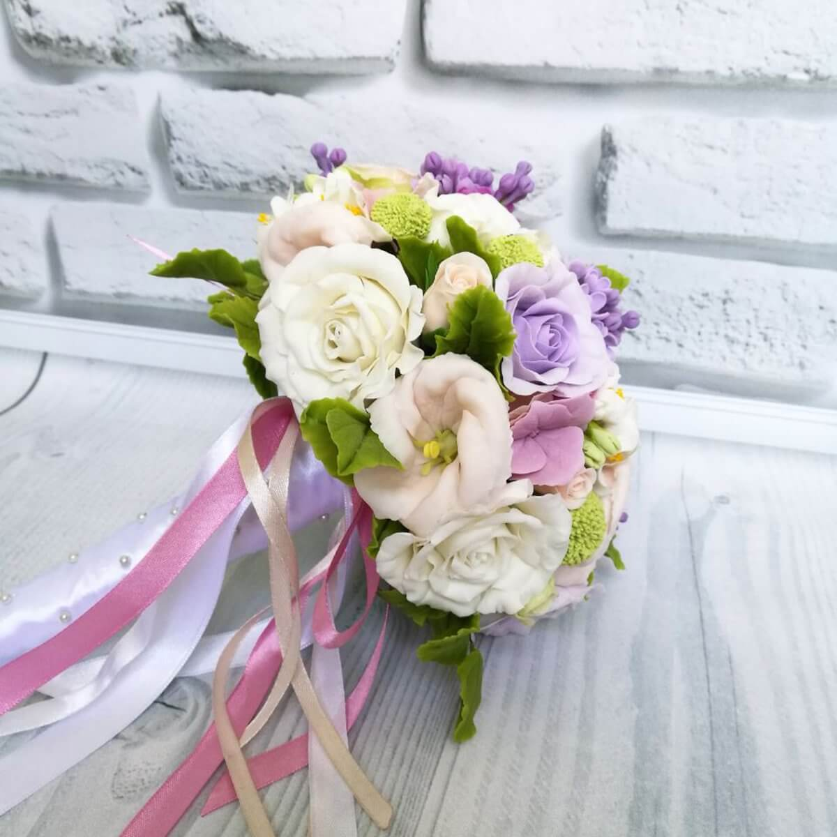 Purple And White Bridal Bouquet Handmade With Love Oriflowers