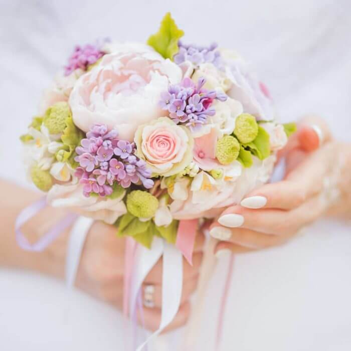 Purple And White Bridal Bouquet | Oriflowers