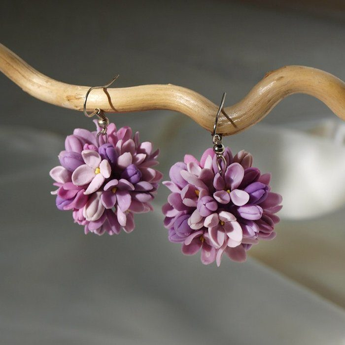 Purple Lilac Earrings, Handmade Jewelry | Oriflowers