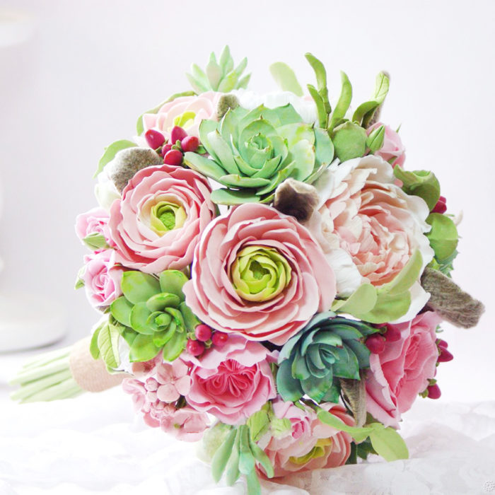 Ranunculus And Succulent Wedding Bouquet 1 | Oriflowers