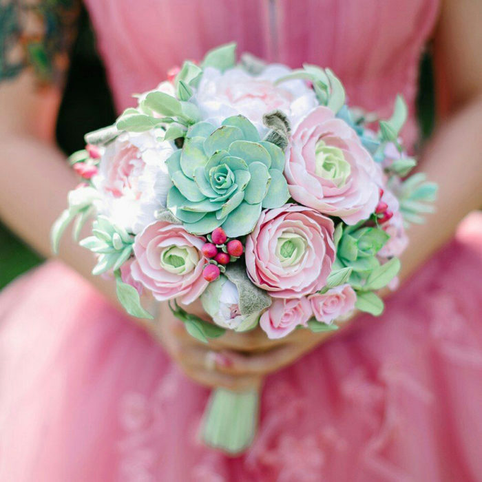 Ranunculus And Succulent Wedding Bouquet | Oriflowers