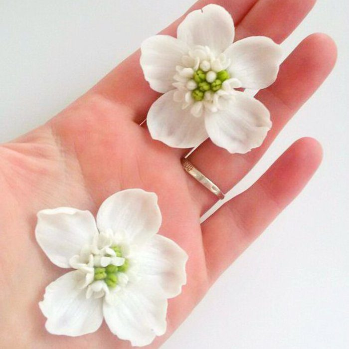 White Flower Earrings, Artificial Handmade Jewelry | Oriflowers
