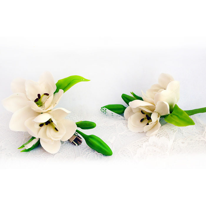 White Freesia Hair Clip 1 | Oriflowers