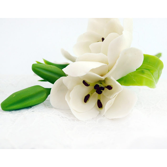 White Freesia Hair Clip 3 | Oriflowers
