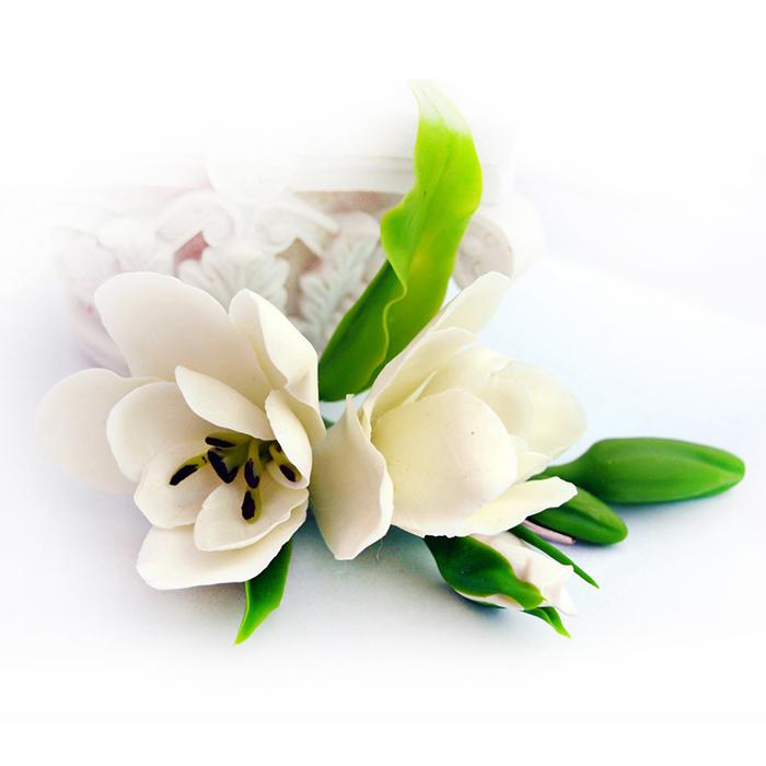 White freesia hair clip handmade flowers oriflowers white freesia hair clip mightylinksfo