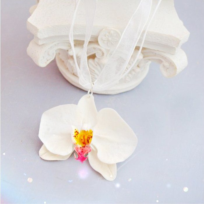 White Orchid Necklace, Flower Pendant | Oriflowers