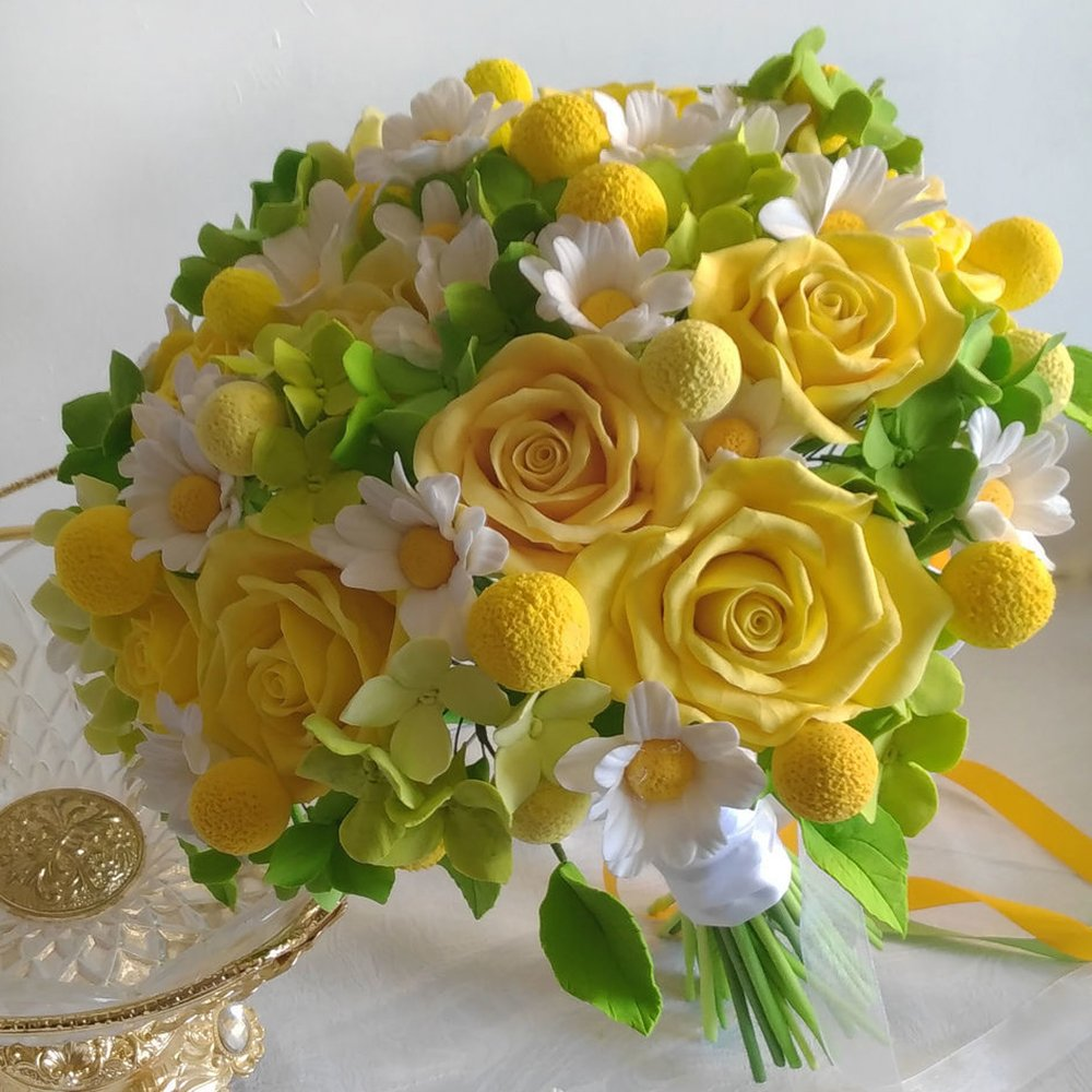 Yellow Rose Wedding Bouquet - Handmade With Love | Oriflowers