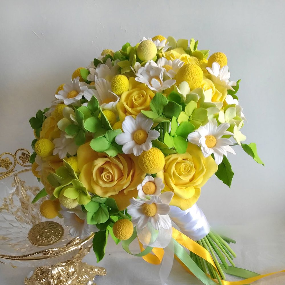Yellow Rose Wedding Bouquet Handmade With Love Oriflowers