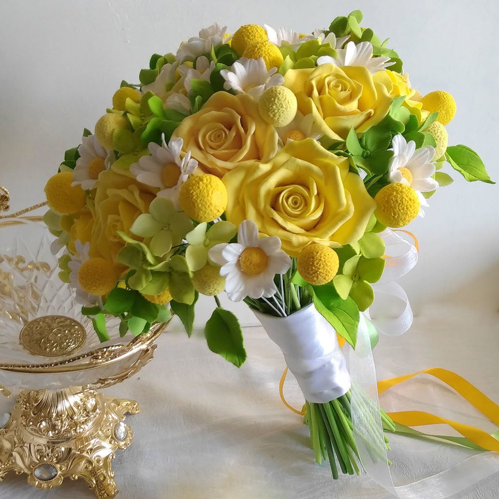 Wedding Flowers Yellow Roses: Yellow Rose Wedding Bouquet - Handmade With Love