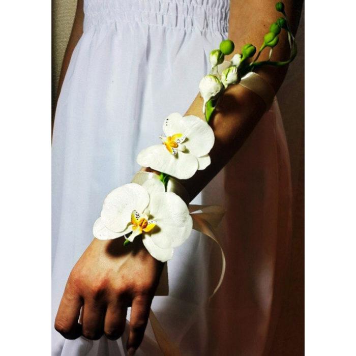 wedding bracelet with orchids, flower jewelry | Oriflowers
